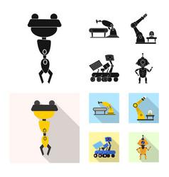 Design robot and factory logo vector