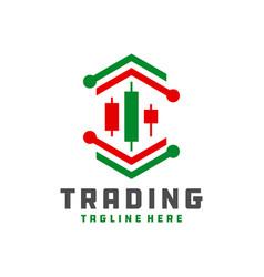 digital trading chart logo vector image