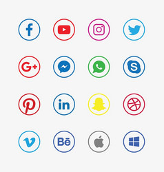 Famous social media colored logos vector