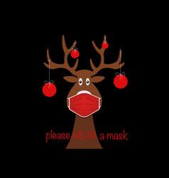 Festive christmas reindeer wearing face mask vector
