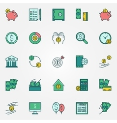 Flat finance icons vector image