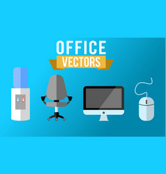 Flat office collection vector