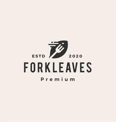 fork leaves leaf hipster vintage logo icon vector image