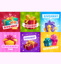 Giveaway gifts competition winner prize vector