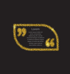 gold quotation mark speech bubble vector image