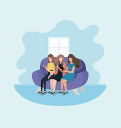 Group of women in living room using technology vector