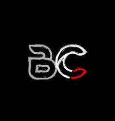 Grunge white red black alphabet letter bc b c vector