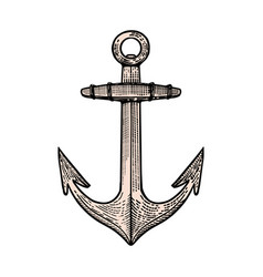 Hand drawn anchor in engraving style design vector
