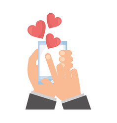 hands with smartphone love hearts vector image