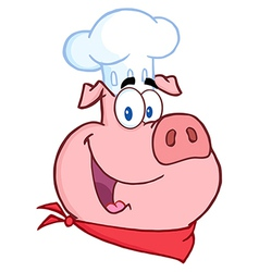 Happy Pig Chef Head vector