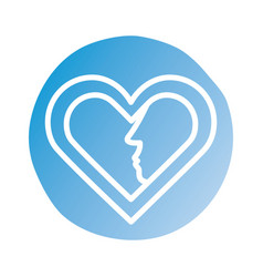 Happy valentines day heart with couple profiles vector