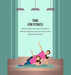 Happy woman and child doing fitness training vector