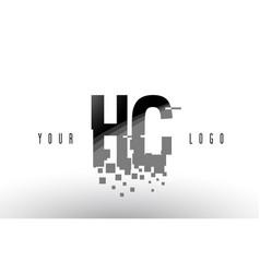Hc h c pixel letter logo with digital shattered vector