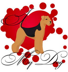 I love my airedale vector