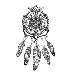Indian dream catcher with ethnic ornaments vector