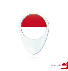 Indonesia flag location map pin icon on white vector