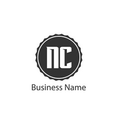 initial letter nc logo template design vector image