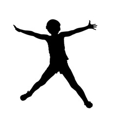 jumping little girl silhouette hands to the side vector image