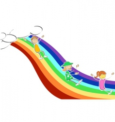kids sliding on rainbow vector image