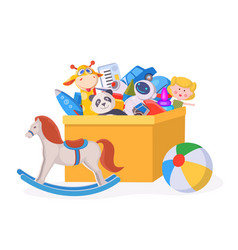 kids toy box cartoon children play container vector image