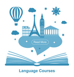 language courses poster vector image