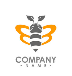 Logo abstract bee flying with orange leaf wing vector