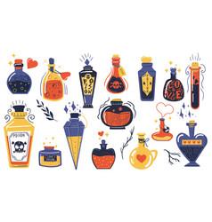 Magic potions alchemist cartoon bottles with love vector