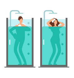 man and woman take shower vector image