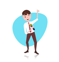 Man character holding microphone toastmaster vector