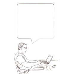 man using laptop at home while sitting behind vector image