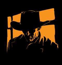 Man with cowboy hat silhouette in backlight vector