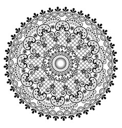 Mandala lace pattern vintage round design vector