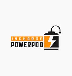 Modern power bank logo vector