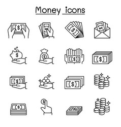 money hand icon set in thin line style vector image