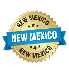 New mexico round golden badge with blue ribbon vector