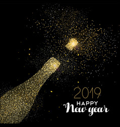 New year 2019 party drink gold glitter dust card vector
