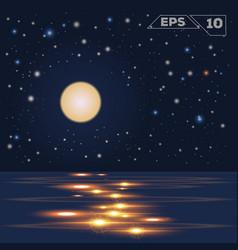 oceain in night moon vector image