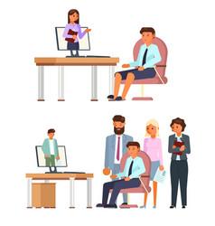 online job interview character set flat vector image