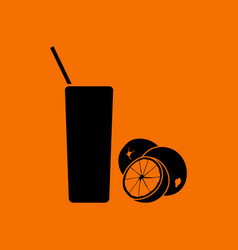 Orange juice glass icon vector