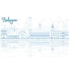 Outline Bologna Skyline with Blue Landmarks vector image