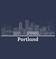 Outline portland oregon city skyline with white vector