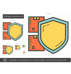 Package insurance line icon vector