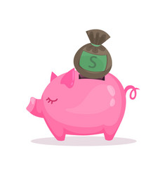 pink piggy bank and money bag saving and vector image