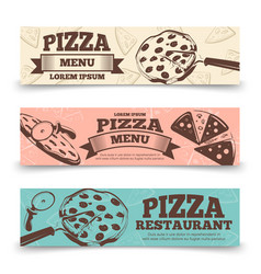 Pizza menu banners template - food vintage banners vector