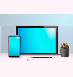 realistic laptop and smartphone workspace front vector image