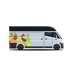 Realistic van with organic vegetables natural vector