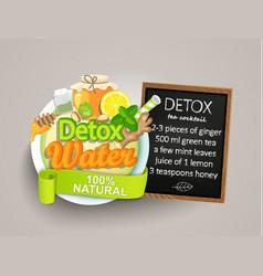 Recipe detox cocktail-tealemongingerhoneymint vector