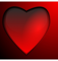 Red glass heart isolated on gradient background vector