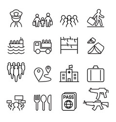 refugee immigrant icons set in thin line style vector image
