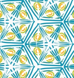 Rough brush green triangles and yellow circles vector
